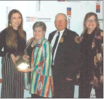 Lindsey Vaculinl/THE CAMERON HERALD The Cameron Chamber of Commerce handed out several awards during its banquet on Feb. 10. Clockwise from top left: former Milam County Judge and Cameron Mayor David Barkemeyer was honored as Citizen of the Year; Circle S