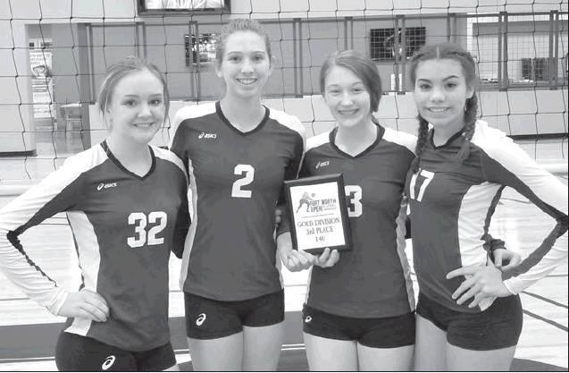 Four Cameron Junior High Lady Yoe Volleyball players led their club team, the Texas Legends, to a third Place finish in the 14U Division of the Fort Worth Open this past weekend. Pictured, from left, are team members Sydni Smith, Ainsley Driska, Haley Tuc