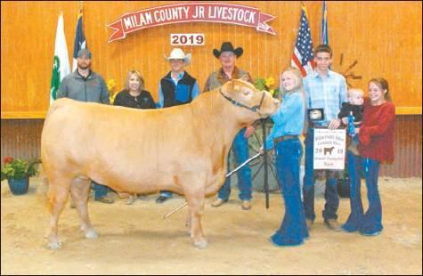 Trew Schroeder of the Thorndale FFA exhibited the Grand Champion steer at the Milam County Junior LIvestock Show last week. The steer sold for $7,600.