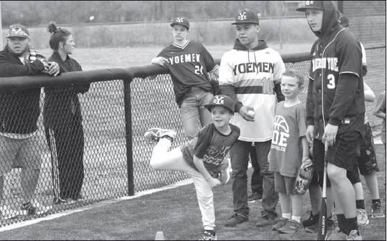 Young Yoemen competed in the Pitch, Hit and Run contest during Opening Day at The Yards on Saturday. Several events were held including Meet the Yoemen, Futures Game between the seventh and eighth grade Yoemen and the annual Alumni Game. The Milam County